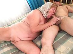 Grandma wakes Grandpa up from his nap with a nice blowjob!