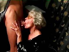 Slutty Granny Mrs Jones Slurps Young Hard Dick 1