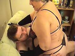 Grandma sits astride Danny taking his hard cock deep inside her riding him hard to make myself cum Then Danny rides me doggystyle thrusting deep inside me and making me moan with pleasure