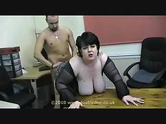 Bending me over the office desk Jay pounds his cock so hard into me my breasts swinging in time to his thrusts after making me come hard its Jays turn to be fucked out comes my nice slim long anal dildo bending Jay over in slips my dildo into his tight as