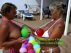 Randy Raz  myself get wet and naked in a swimming pool in the hot Lanzarote sun along with a multitude of colourful balloons A sexy fun time was had by all  Claire xx