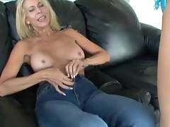 Blonde with astonishing tits is kissing her babes boobs