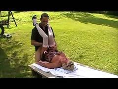 76 Year old Granny Shirley and the Cougar Champion fuck outside on a picnic tableSee Granny Shirley squirt and swallow a load of cum without missing a drop