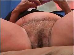 Nasty chubby blonde grandmother is fondling herself.