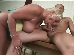 Slutty granny tastes her own pussy juiced from partner`s cock.