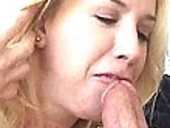 Hot mature harlot Taylor Lynn gives blowjob and gets nailed by two dudes