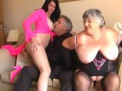 Grandma Libby and her sweet German friend Angel Eyes meet up with a horny handsome guy  We cant wait to find out what he has to offer us and after some hot kissing and playing we unzip his pants to get our mouths around his rampant dick