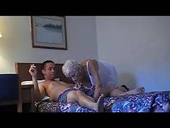 89 Year old Granny Marg gets deep fucked in white lingerie and takes a facial from the Cougar Champion  89 years old and can still handle a deep fucking