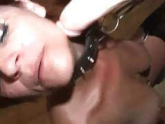He fucked me for a while from the behind then spanked me again and fucked my face mercilessly After that he fucked me from behind again while the collar on my neck wa releasing only little air in my lungs