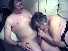 More sucking and fucking making me groan with pleasure and John finally shoots a load of hot spunk all over my tits
