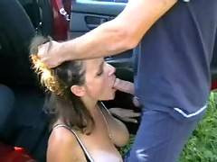 My Master loves blowjob He liked to fuck me deep into my throat This time I must serve him in the car During short brake from our trip he forced me to blowjob and I must swallow his sperm Then he fucked my face hardly while I was kneeling beside the car F