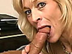 BLue eyed blonde granny Kari gives blowjob on her knees and gets pink slit humped doggy